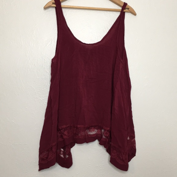 Free People Tops - Intimately free people cranberry lace tank M